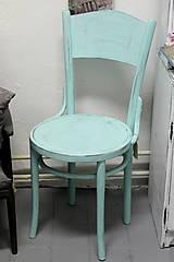 Nábytok - Mentolková stolička s patinou - predaná - 6976640_