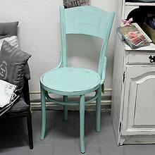 Nábytok - Mentolková stolička s patinou - predaná - 6976639_