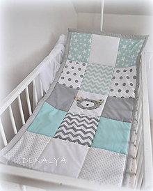 Úžitkový textil - Prehoz do postieľky Basic so šedým mackom 120x60cm - 6982955_