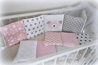 Textil - Mantinel do postieľky 240x25cm-Basic s ružovým mackom - 6982978_