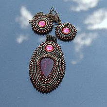 Sady šperkov - Magenta&Emerald - vyšívaná sada - 6980130_