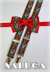 - Folkový - folklórny červený motýlik + traky, ľudový, krojový - 6980913_