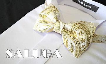 Doplnky - Luxusný zlatý motýlik - vzorovaný - svadobný - 6981531_