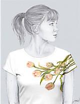 - Maľované tričko - Tulipány - 6982259_