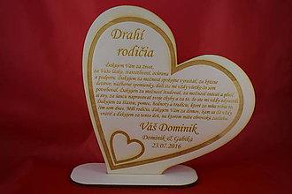 Darčeky pre svadobčanov - Poďakovanie rodičom preglejka srdce 2 - 6982629_