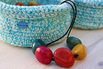 Úžitkový textil - Háčkovaný košík - 6983671_