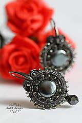Náušnice - antracitová kráska - 6985571_