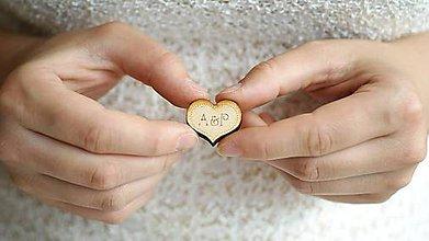 Darčeky pre svadobčanov - Drevené gravírované iniciály 3,5 cm - 6983879_