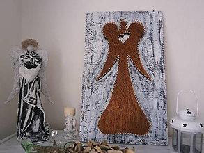 Obrazy - Veľký anjel shabby chic so srdcom - 6984179_