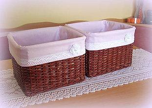 Košíky - Košík hnedý - romantik ružový - 6984407_