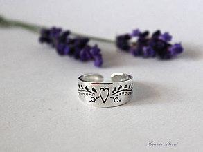 Prstene - strieborný nastaviteľný prsteň - slovenský folklór - 6984909_