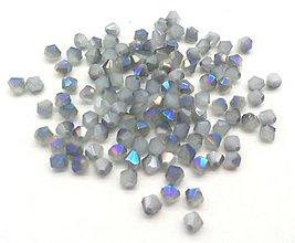 Korálky - Bicone -  biela s Blue ray efektom /4mm/ 10ks - 6986257_