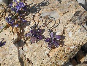 Náušnice - violet flowers and flowers - 6985754_