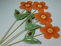 Kvetinka s lienkou zápich - oranžová