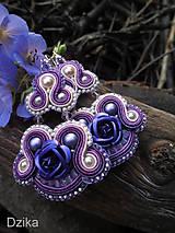 - Soutache náušnice s fialovou ružou - výpredaj - 6987429_