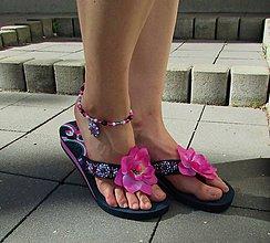 Obuv - Plážová letná súprava - ružový kvet - 6987539_