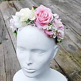 Parta- čelenka, jemne ružová s krémovou
