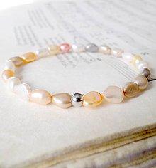 Náramky - Multicolor Freshwater Pearls / Elastický náramok so sladkovodnými perlami - 6989016_