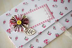 Papiernictvo - Scrapbook obálka na peniaze - ružičky - 6988298_