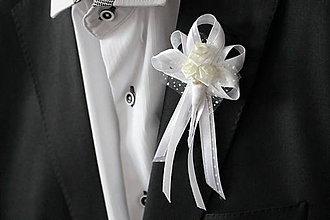 Pierka - Biele svadobné pierko pre svadobného otca - 6987808_