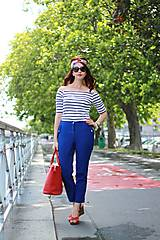 Nohavice - Modré nohavice skrátenej dĺžky - 6989632_