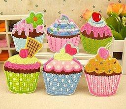 Galantéria - Aplikácia / nažehlovačka muffin (balíček 3ks) - 6988863_