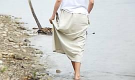Sukne - Ľanová sukňa - 6990175_