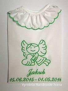 c1f55a99a Detské oblečenie - Košieľka na krst K11, biela bavlna, zelená výšivka  (Prednostné odoslanie