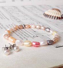 Sady šperkov - Multicolor Pearls Set / Sada náušníc a náramku s perlami - 6990469_