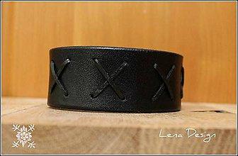 Náramky - Pánsky kožený čierny náramok - 6992797_