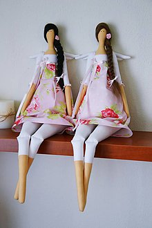 Bábiky - Anjeličky v ružičkových sukničkách - 6990418_