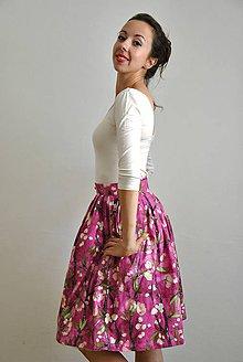 Sukne - Zavinovací sukně s třešňovými květy - 6993145_