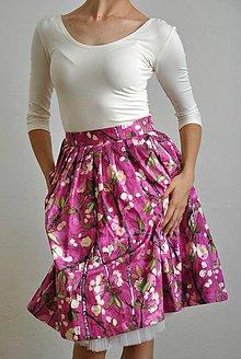Sukne - Zavinovací sukně s třešňovými květy - 6993146_