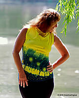 Tričká - Dámske šité tričko bez rukávov, batikované a maľované RIO - 6990667_