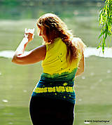 Tričká - Dámske šité tričko bez rukávov, batikované a maľované RIO - 6990698_