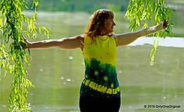 Tričká - Dámske šité tričko bez rukávov, batikované a maľované RIO - 6990759_