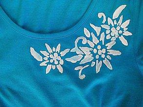 Tričká - tyrkysovomodré tričko maľované - 6992932_