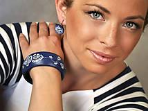 Sady šperkov - Set náušnice + náramok - Navy folk - 6991970_