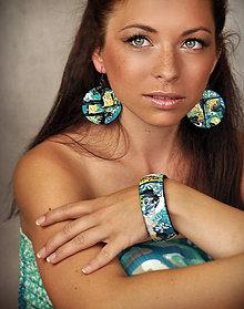 Sady šperkov - Set náušnice + náramok - Touch of tyrkys - 6991420_