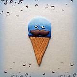 Kľúčenky - Moustache modrá zmrzlina - magnetka - 6993944_