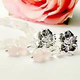 Rose & Tears Earrings / Náušnice s ruženínom a krištáľom