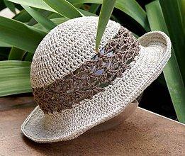 Čiapky - Bety - háčkovaný ľanový klobúčik - 6994907_