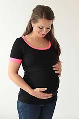 Tehotenské/Na dojčenie - 3v1 dojčiace tričko, krátky rukáv, NEON lemy, veľ. L-XXL - 6996096_