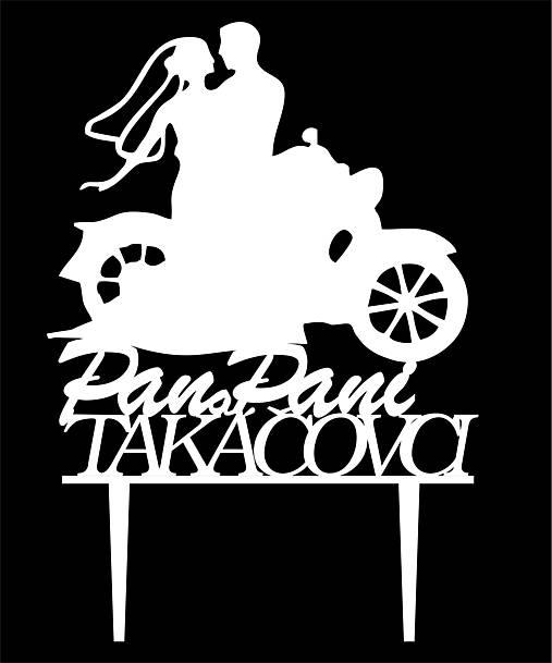 ozdoba na tortu - Pán a Pani na motorke (Zlatá)
