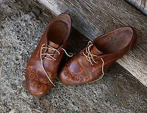 Obuv - Kožené topánočky maľované - 6994865_