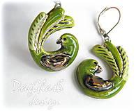 Náušnice - keramické náušnice...vtáčiky zelené... - 6996673_