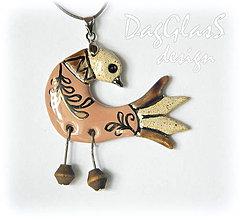 Náhrdelníky - keramický prívesok - vtáčik staroružový... - 6996690_