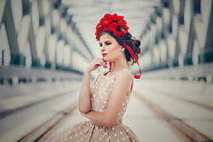 Ozdoby do vlasov - Romantická červená čelenka. - 6995562_