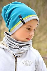 Detské čiapky - jarná čiapka s menom tyrkis & apple - 6994629_