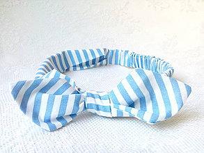 Ozdoby do vlasov - Pin Up headband on elastic for kids (baby blue&white stripes) - 6998325_